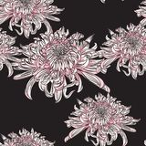 Vector seamless pattern with chrysanthemums. Hand-drawing illustration. Stylized traditional Chinese painting, line flower, black background stock illustration