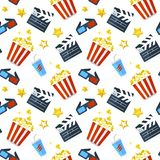 Vector seamless pattern with cinema icons. Cinema seamless pattern on a white background, vector illustration royalty free illustration