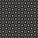 Vector seamless pattern with circles and rounded squares. Simple abstract geometric background. Funky monochrome texture. Stylish black and white design for Stock Photography
