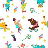 Seamless pattern. Vector illustration. Vector seamless pattern with circus performers. Circus animals, clown, elephant, bear on bike, big guy, tiger jumping Stock Photo