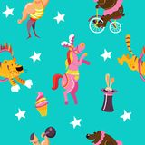 Seamless pattern. Vector illustration. Vector seamless pattern with circus performers. Circus animals, clown, elephant, bear on bike, big guy, tiger jumping Royalty Free Stock Photo