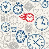 Vector seamless pattern with clocks icon Stock Photography