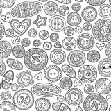 Vector seamless pattern with cloth buttons in boho style Stock Photos