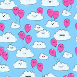 Vector seamless pattern with clouds and pink air balloon. Happy spring clouds fly Royalty Free Stock Image