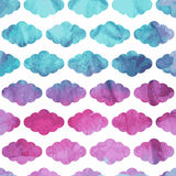 Vector Seamless  Pattern with Clouds on watercolor winter backgr. Ound Stock Image
