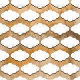 Vector Seamless Pattern with Clouds on watercolor winter backgr. Ound stock illustration