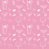 Vector seamless pattern with cocktails Stock Photos