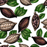 Vector seamless pattern of cocoa beans and leaves. Hand drawn colored engraved art. stock illustration