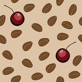 Vector seamless pattern - coffee beans and cherry. Vector seamless pattern with coffee beans Stock Image