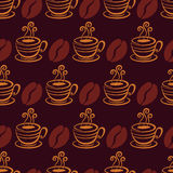 Vector seamless pattern with coffee beans and cup. Hand drawn il Stock Photography