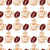 Vector seamless pattern with coffee beans and cup,  on w Royalty Free Stock Images