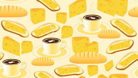 Vector seamless pattern with coffee cups, bread, butter, cheese and sandwiches Royalty Free Stock Image