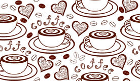 Vector seamless pattern with coffee cups, hearts and coffee beans. Vector seamless pattern with coffee cups, hearts, coffee beans and words coffee. Food and Stock Photo