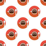 Vector seamless pattern with coffee cups on a white background for package or textile design. Royalty Free Stock Image