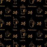 Vector seamless pattern with coffee drink Stock Images
