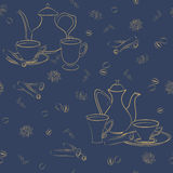 Vector seamless pattern with coffee pot, cups and Oriental spices. Stock Photo