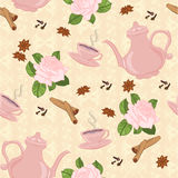 Vector seamless pattern with coffee pot, cups and Oriental spices. Stock Image