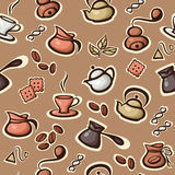 Vector seamless pattern with coffee and tea icons. Royalty Free Stock Photos
