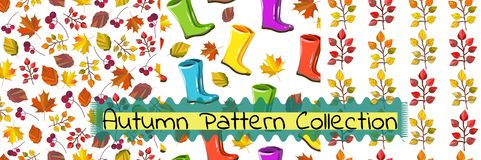 Vector seamless pattern collection. Autumn, fall set. royalty free illustration