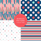 Vector seamless pattern collection, fashion backgrounds. Stylish. Color palette: soft pink, navy blue, mint, coral and red. Trendy simple design for decoration Royalty Free Stock Photography
