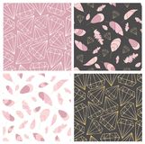 Vector seamless pattern collection. Feather and diamonds,gems,crystals. Stylish,trendy,fashionn pattern set. stock illustration