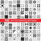 100 vector seamless pattern collection, geometric universal patterns, tiles and wallpapers - big pack. Collection of different repetitive designs in black and Royalty Free Stock Photography