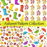 Vector seamless pattern collection,set. Autumn design. Colorful, cute,nice prints. Boots,umbrellas,foliage texture. vector illustration
