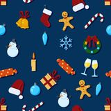 Vector Seamless Pattern Background of Christmas Symbols Royalty Free Stock Photos