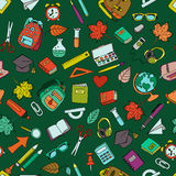 Vector seamless pattern with color doodle school tools. Royalty Free Stock Image