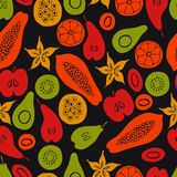 Vector seamless pattern with fruits. Stock Image