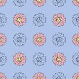 Vector seamless pattern of color and monochrome sunflowers in Scandinavian style hand drawn. Cartoon style Use for backgrounds, te. Xtiles, wrapping paper royalty free illustration