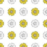Vector seamless pattern of color and monochrome sunflowers in Scandinavian style hand drawn on a white background. Cartoon style U. Se for backgrounds, textiles royalty free illustration