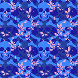 Vector seamless pattern with color skulls Stock Photography