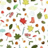 Vector seamless pattern of colored autumn elements. Repeat background with isolated leaves, umbrella, rain, mushroom, rubber boots, nut, acorn, cloud stock illustration