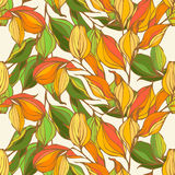 Vector seamless pattern with colored autumn leaves. Seamless vector pattern with red, orange, yellow leaves Stock Image