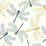 Vector Seamless Pattern with Colored Dragonflies Stock Image