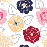 Vector Seamless Pattern of Colored Flowers Royalty Free Stock Image