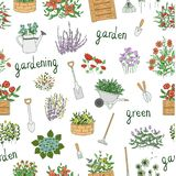 Vector seamless pattern of colored garden tools vector illustration