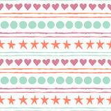 Vector seamless pattern with colored hand drawn stars, circles, hearts and strips. Seamless pattern. Colored hand drawn stars, circles, hearts and strips Royalty Free Stock Images