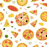 Vector seamless pattern of colored pizza vector illustration
