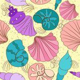 Vector seamless pattern with colored shells Royalty Free Stock Photo