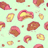 Vector seamless pattern of colored sketches bitten chocolates. Sweet rolls, bars, glazed, cocoa beans. handmade letters Stock Photos