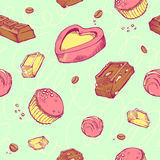 Vector seamless pattern of colored sketches chocolates. Sweet rolls, bars, glazed, comfit, cocoa beans. Vector seamless pattern of colored hand-drawn sketches Royalty Free Stock Photos
