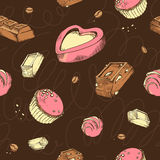 Vector seamless pattern of colored sketches chocolates. Sweet rolls, bars, glazed, comfit, cocoa beans. handmade letters Royalty Free Stock Photography