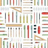 Vector seamless pattern of colored stationery vector illustration