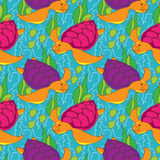 Seamless pattern with colored turtles Royalty Free Stock Images