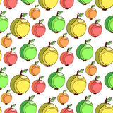 Vector seamless pattern with colorful apples. Fruits stylized background. Apple wallpaper. Royalty Free Stock Images
