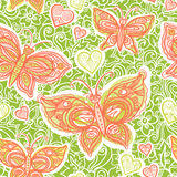 Vector seamless pattern with colorful butterflies. Royalty Free Stock Photo