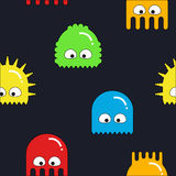 Vector seamless pattern with colorful cartoon monsters. Seamless patter with colorful monsters on a blue background Stock Image