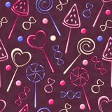 Seamless pattern with candies and lollipops Royalty Free Stock Photography
